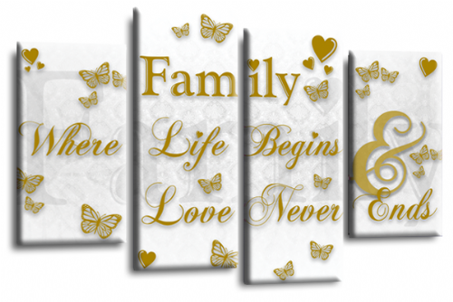 Family Quote Canvas Wall Art Picture Home Decor Print White Gold